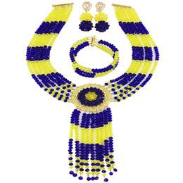 $enCountryForm.capitalKeyWord Australia - Royal Blue Yellow Crystal African Beads Necklace Nigerian Wedding Jewelry Sets for Women 6CXLS09