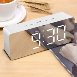 Large dispLay Led digitaL cLocks online shopping - Digital Snooze Table Clock Mirror Clock Electronic Large Time Temperature Display LED Night USB Battery Powered Wake up Lights