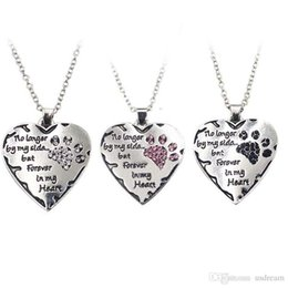 $enCountryForm.capitalKeyWord NZ - No Longer By My Side Forever in My Heart Crystal Dog Paw Heart Necklace Pendant for Women Fashion Jewelry Will and Sandy DROP SHIP 161728