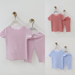 $enCountryForm.capitalKeyWord Australia - Thin Cute Baby Girls Clothes Summer Toddler Kids Knitted Rib Striped Tops+ Shorts Home Sleeping Suit Children Girl Clothing Sets J190514