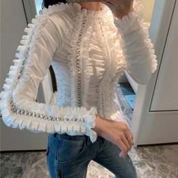 long sleeve ruffle blouses Australia - Designer Luxury Frilled Women Blouse 2020 Spring Autumn Brand Same Style Fashion Ruffled Stand Collar Long Sleeve Hollow Out Party Shirts
