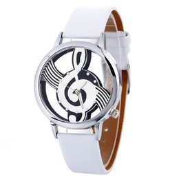stylish ladies bracelet watch Australia - Stylish Musical Note Painting Leather Bracelet Lady Womans Wrist Watches simple casual Engraving Hollow lady bracelet watches