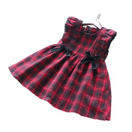 $enCountryForm.capitalKeyWord UK - Autumn Baby Girl Dress For Girls Costumes Red Plaid Sleeveless Princess Dress Kids Clothes For Girls Christmas Dress Santa J190520