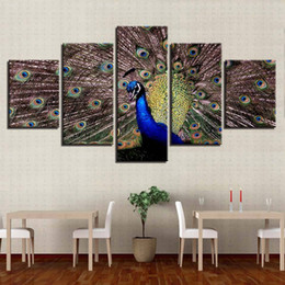 $enCountryForm.capitalKeyWord Australia - Canvas Abstract Poster Photo Wall Art 5 Panel Beautiful Peacock Home Decoration Paintings Modern Modular Pictures No Frame