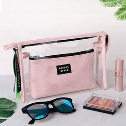 piece cosmetic bag set NZ - New PVC Transparent Cosmetic Bag Two-piece Set PU Travel Makeup Bag Toiletry Storage and Sorting LMJZ