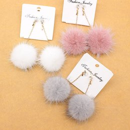 rabbit earrings NZ - rop Earrings NEW Crystal cute Rabbit Fur Ball Long Drop Earrings For Women Soft Ear Dangle Jewelry Winter Gift Trinket Brincos brinco bij...