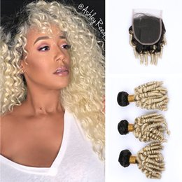 Wholesale Dark Roots Kinky Curly Honey Blonde B Hair Bundles With Lace Closure Ombre Blonde Aunty Funmi Hair Weaves With Closure For Woman
