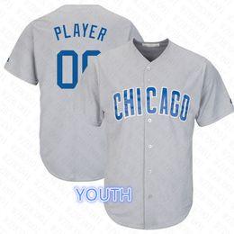 efba3d047 Kid Custom Cubs Jerseys Javier Baez Anthony Rizzo Kris Bryant Kyle Schwarber  White Grey Blue Youth 2019 Baseball Player Jersey