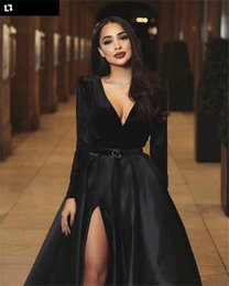 spring women velvet NZ - V-Neck Long Sleeves Velvet Top Black Prom Dresses Sexy Split Custom Made Formal Women Evening Party Gowns Split Side Robe De Festa Spring