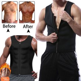 plus size sweat vest 2019 - New Men's Slimming Neoprene Vest Sweat Shirt Body Shaper Waist Trainer Shapewear Men Top Shapers Clothing Male chea