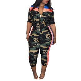 camouflage outfits women Australia - 2 Piece Set Women Camouflage Top And Pants Two Piece Set Women Fitness Zipper Outfits For Summer Clothes Pants