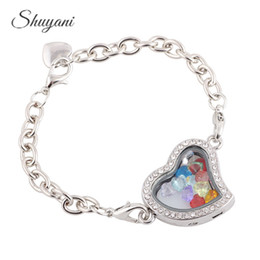 Floated glass online shopping - 5PCS Alloy Colors Heart Floating Locket Bracelet with Crystal Birthstone Charms Living Magnetic Glass Locket Bracelet