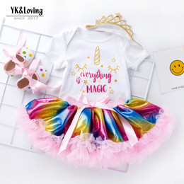 Infant Tutus Wholesale Australia - Ins baby girl clothes rainbow Newborn Outfits Baby Suit 3pcs Crown designer headband+ baby romper+Tutu Skirts+baby shoes Infant suits A3929