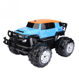 toy amphibious car UK - Blue Amphibious Remote Control Car 4 Wheels Drive Vehicle Big wheel Amphibious durable anti-collision RC Model toy gift for kids