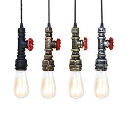 Halogen Pendant Australia - Loft industrial Iron water Pipe steam punk Vintage pendant lamp cord E27 led pendant lights for bedroom bar restaurant kitchen
