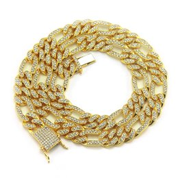 Luxury Chains Australia - Mens Full Diamond Bling Cuban Figaro Link Chain Necklace Iced Out Designer Luxury Hip Hop Choker Chains Miami Rapper Jewelry Gifts for Men