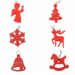 deer white pendant NZ - 6pcs per Bag Red  White Golden Silver Retro color Christmas Snowflake Deer Wooden Pendant Christmas Wooden Sign Decorative Wood Crafts