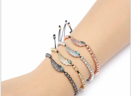 brass feathers charms 2019 - gold silver micro pave cz Cubic Zirconia rope adjusted Copper Beads Bracelet fhkj56 feather Charm Braided Bangles Women