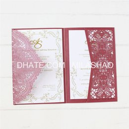 $enCountryForm.capitalKeyWord UK - Pearl wedding cards laser cut wedding marriage invitation with rsvp envelop festival gift cards tir-fold free ship