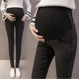 Washed Black Stretch Skinny Jeans Australia - Washed Stretch Denim Skinny Maternity Jeans Elastic Waist Belly Pencil Pants Clothes for Pregnant Women Pregnancy Legging