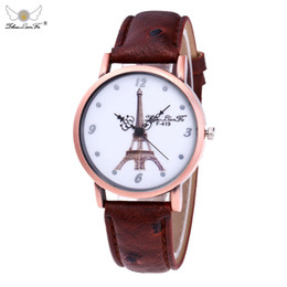 Small Round Clocks Australia - Exquisite small dial Eiffel Tower Women Watch Fashion Leather Band Analog Quartz Round Wrist Watch Ladies Dress Watches Clock #W