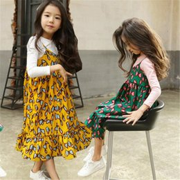 $enCountryForm.capitalKeyWord NZ - Mother Daught Matching Dresses Summer Printed Chiffon Girl Long Skirt Pleated with Shoulder-straps Clothes Dress And Parent-child Outfit