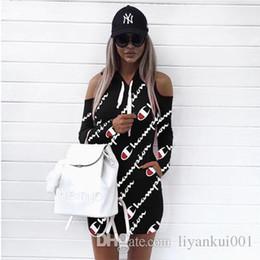 $enCountryForm.capitalKeyWord Australia - Hot Women Letter Printed Hoodies Dress Summer Autumn Dress High Quality Off Shoulder Mini Bandage Tops Sportwear Plus Size Clothing S-3XL