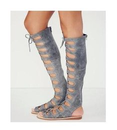 Discount rome girls sandals - Abesire Women Lace-up Flat Boots Female Flock Cut-outs Sandals Boots Girls Peep Toe Rome Style Shoes Lady Slingback Casu