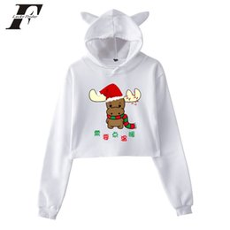 Discount plus size christmas clothes women - Christmas hoodie Women men Fashion Kawaii Crop Top Cat oversized Hoodies Sweatshirt Christmas clothes Print Plus Size