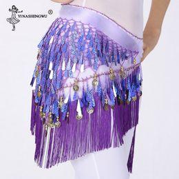 Wholesale belly dance wraps resale online - Women Triangle Belt Bellydance Hip Scarf Belly Dance India Accessories Sequins Tassel Wrap Performance Costume Chiffon Shawl