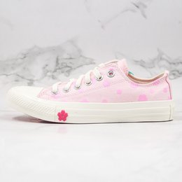 lace blossom Canada - 2020 New Canvas Shoes Lift OX Cherry Blossom High-Help Low-Help White Pink Small Flower Cherry Powder High Quality Women Shoes Casual Board