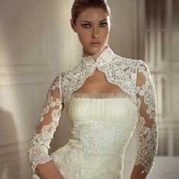 $enCountryForm.capitalKeyWord Australia - Lace Appliques Long Sleeve Wedding Jackets Hot New Arrival Fast Delivery Beaded High Neck Bridal Wraps Jacket Bolero For Beauty Bridal Dress