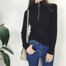 $enCountryForm.capitalKeyWord NZ - Zipper Turtleneck Cashmere Cotton Blend Pullover Sweater Women Black long Sleeve Jumper Pull Femme Streetwear Knitted Sweater
