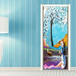 $enCountryForm.capitalKeyWord Australia - 2Pcs Set DIY Tree Flower Girl's Back Oil Painting Wallpaper Wall Sticker Kids Children Girls Living Room Bedroom Gift Home Decoration