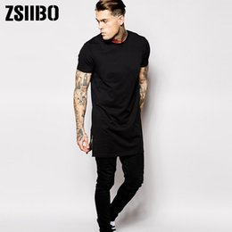 0ec55a939 Hip Hop Mens Brand Clothing T Shirt Streetwear Zipper Split T-shirt Long  Line Tops Men Short Sleeve Tees Tall good quality Tx150