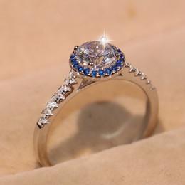 $enCountryForm.capitalKeyWord Australia - Brand New Sparkling Luxury Jewelry Pure 100% 925 Sterling Silver Round Topaz Blue Sapphire CZ Diamond Women Pave Wedding Band Ring Gift