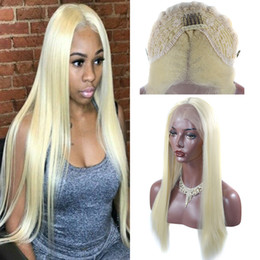 18 Inch Straight Lace Wig Australia - Hot 180% Density 18-24 Inch #613 Blond Synthetic Wigs Silky Straight Glueless Synthetic Blonde Lace Front Wigs For Women Heat Resistant