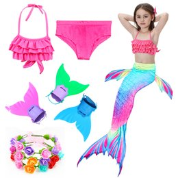 Wholesale girl swim beach bikini for sale – plus size Kids Mermaid Swimsuit Girls Bikini Set Children s Mermaid Costume Tails Fin Bathing Suit Summer Beach Dress Swimming