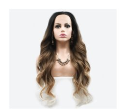 wigs weave NZ - Hot selling sexy fashion long hair wig 24 inch brown ombre color loose wave lace front wigs with weaving cap free shipping