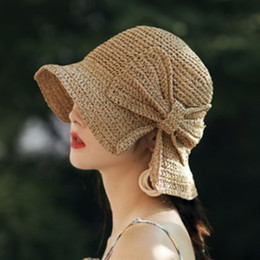 d6de25989bd84 Parent-child 100%Raffia Bow Sun Hat Wide Brim Floppy Summer Hats For Women  Beach Panama Straw Dome Bucket Hat Femme Shade