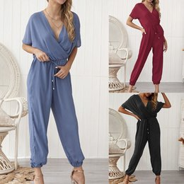 nice jumpsuits Australia - Nice Pop Women Loose Jumpsuit V Neck Slim Fit Short Sleeves Casual Long Rompers For Summer Cgu 88