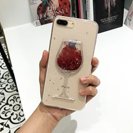 Iphone Glasses Red Australia - Hot Glitter stars 3D Red Wine Glass Lips Liquid Quicksand Transparent Phone Case Cover For iphone X XS MAX XR 5 SE 6 6S 7 8 P