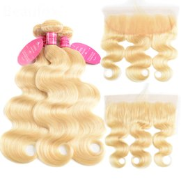 Discount 22 inch brazilian hair - Peruvian Virgin Hair 613 Blonde Bundles With Cosure Body Wave 3 Bundles With 13x4 Lace Frontal 613# Color 8-30inch Body
