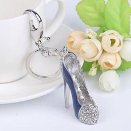 $enCountryForm.capitalKeyWord Australia - High heel shoes key chains rhinestone car key rings silver plated women bag charms keychains keyrings fashion crystal key holder