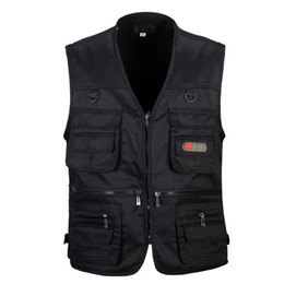 polyester vest pockets for men Canada - Spring Vest With Many Pockets For Men Thin Breathable Multi Pocket Waistcoat 3-8