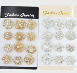$enCountryForm.capitalKeyWord Australia - Mixed 12 style 12pcs lot Golden silvery Crystal Flower Brooches Fashion Wedding Cake Flower Pins Girls Pretty Collar Pins Crystal Brooch