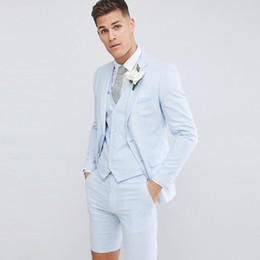 c755f04438bfd Pantaloni corti Young Groom Tuxedo Mens Wedding Suit Jacket + Pants + Vest  2 Buttons Wedding Party Groomsmen Best Man Suit