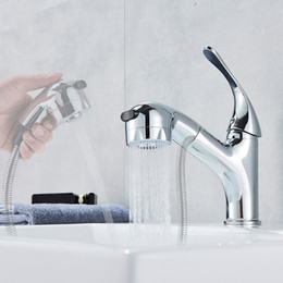 Pull Out Kitchen Australia - Chrome Bathroom Kitchen Faucet Pull Out Washing Tap Deck Mounted Stream Sprayer Pull Down Spout Kitchen Sink Mixer Faucet