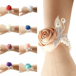 $enCountryForm.capitalKeyWord Australia - OPPOHERE Fashion Girls Charm Wrist Corsage Bracelet Bridesmaid Sisters Hand Flowers Pearl Wedding