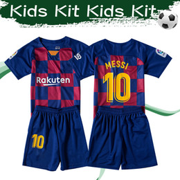Kids children suit online shopping - 2020 Kids Kit MESSI Soccer Jersey GRIEZMANN Home Football Shirts PIQUE ARTHUR Child Football Suits With Shorts
